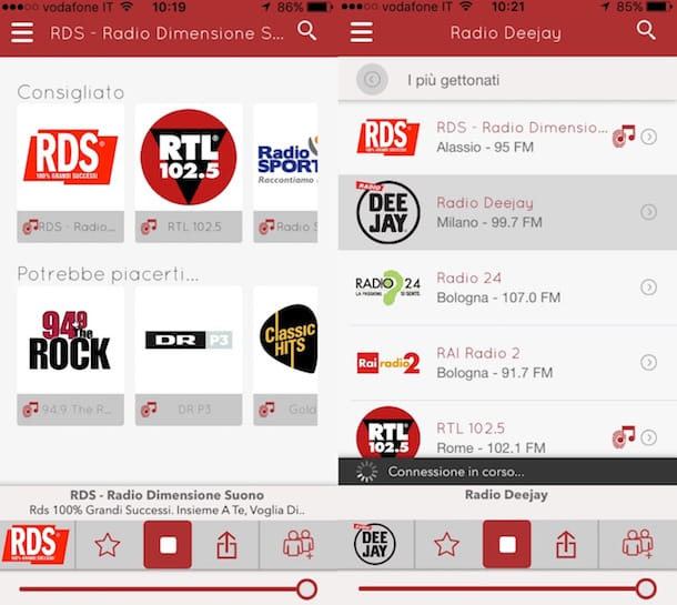 Captura de pantalla de myTuner Radio Italia